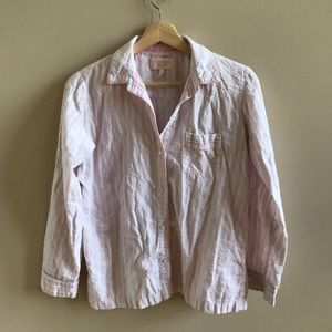 VICTORIAS SECRET pink + white stripe linen shirt